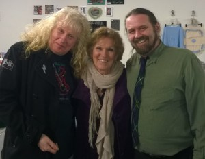 Jeff Jeffrey, Jess Smith and Rolf Campbell at the first public performance of the Tinkers' Heart Song.